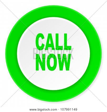call now green fresh circle 3d modern flat design icon on white background