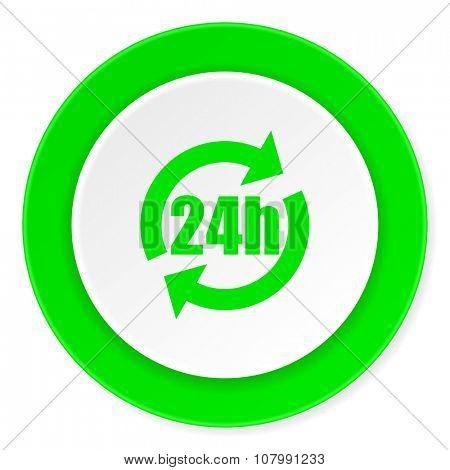 24h green fresh circle 3d modern flat design icon on white background