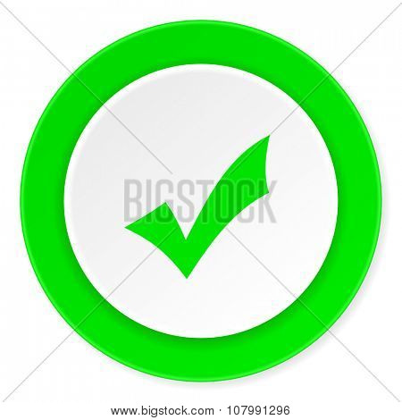 accept green fresh circle 3d modern flat design icon on white background