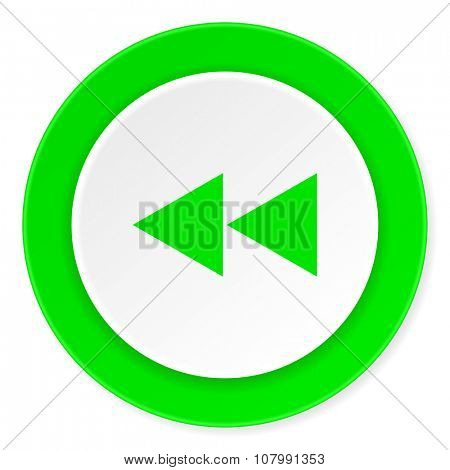 rewind green fresh circle 3d modern flat design icon on white background