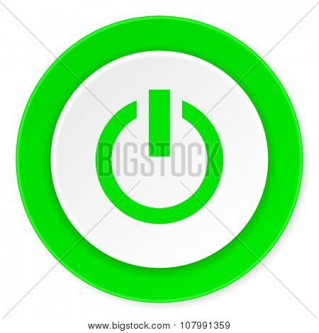 power green fresh circle 3d modern flat design icon on white background