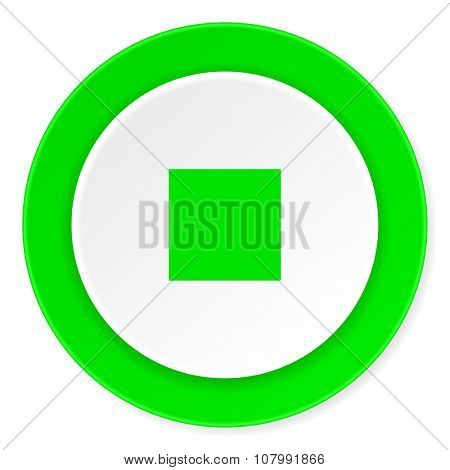 stop green fresh circle 3d modern flat design icon on white background