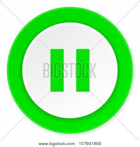pause green fresh circle 3d modern flat design icon on white background