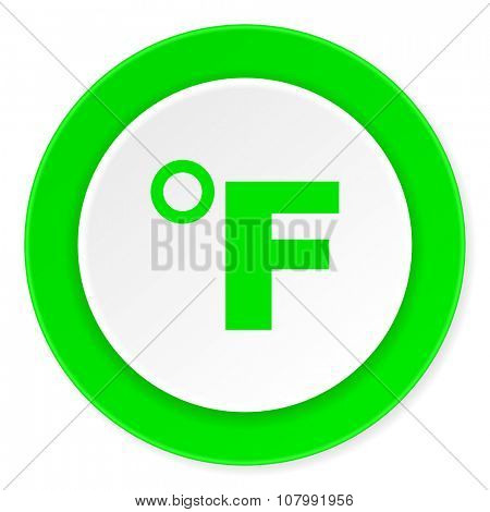 fahrenheit green fresh circle 3d modern flat design icon on white background