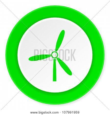 windmill green fresh circle 3d modern flat design icon on white background
