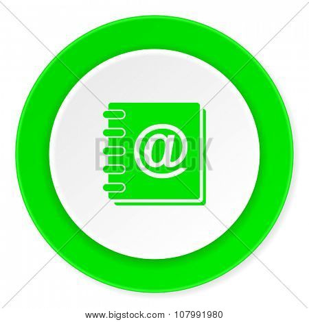 address book green fresh circle 3d modern flat design icon on white background