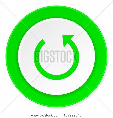 rotate green fresh circle 3d modern flat design icon on white background