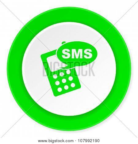 sms green fresh circle 3d modern flat design icon on white background