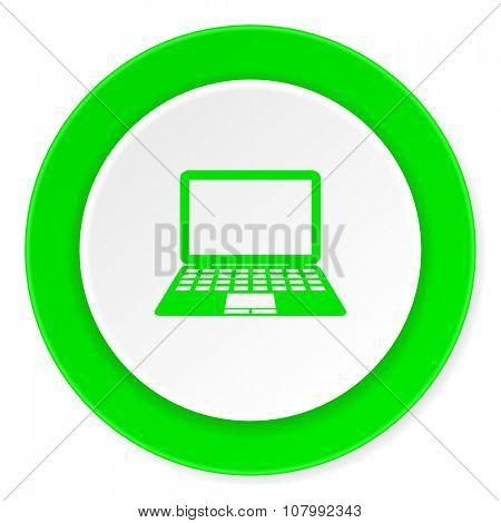 computer green fresh circle 3d modern flat design icon on white background