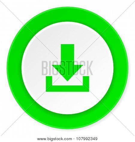 download green fresh circle 3d modern flat design icon on white background