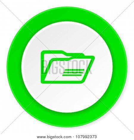 folder green fresh circle 3d modern flat design icon on white background