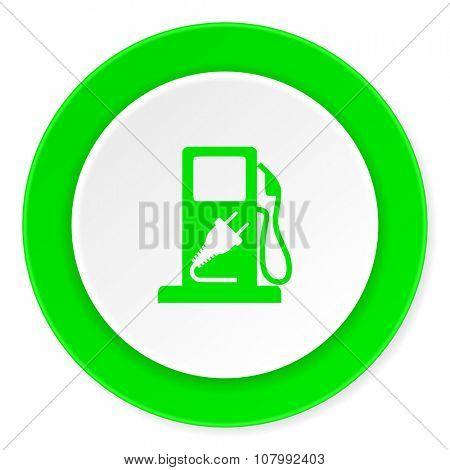 fuel green fresh circle 3d modern flat design icon on white background