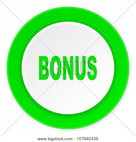 bonus green fresh circle 3d modern flat design icon on white background