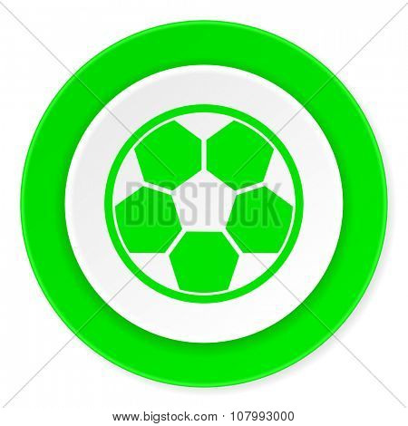 soccer green fresh circle 3d modern flat design icon on white background