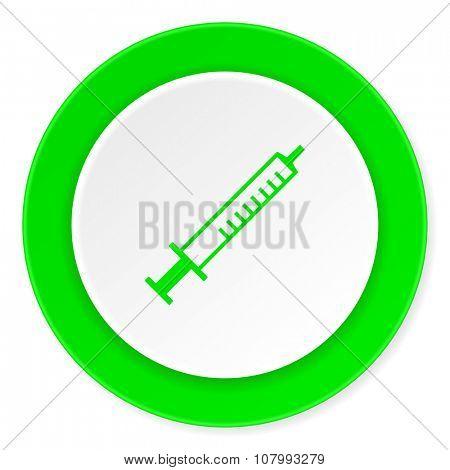 medicine green fresh circle 3d modern flat design icon on white background