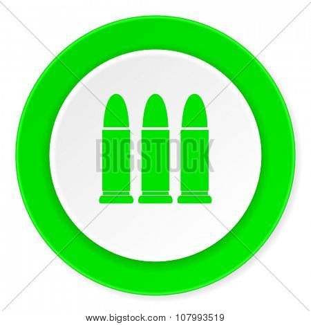 ammunition green fresh circle 3d modern flat design icon on white background