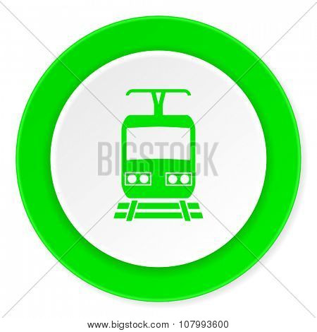train green fresh circle 3d modern flat design icon on white background