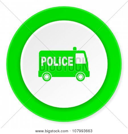 police green fresh circle 3d modern flat design icon on white background