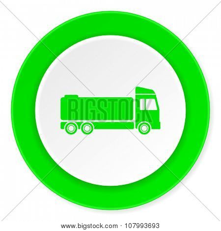 truck green fresh circle 3d modern flat design icon on white background