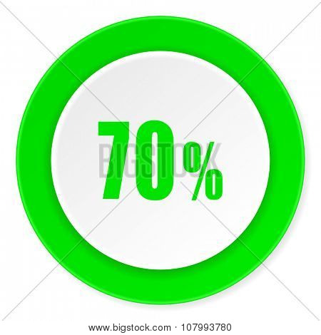 70 percent green fresh circle 3d modern flat design icon on white background
