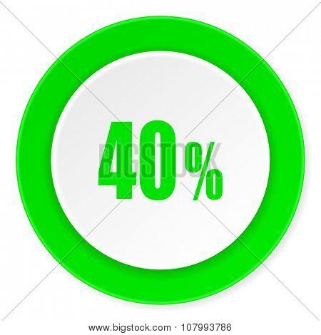 40 percent green fresh circle 3d modern flat design icon on white background