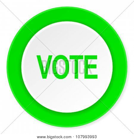 vote green fresh circle 3d modern flat design icon on white background