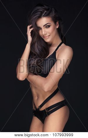 Sexy Brunette Woman, Portrait.