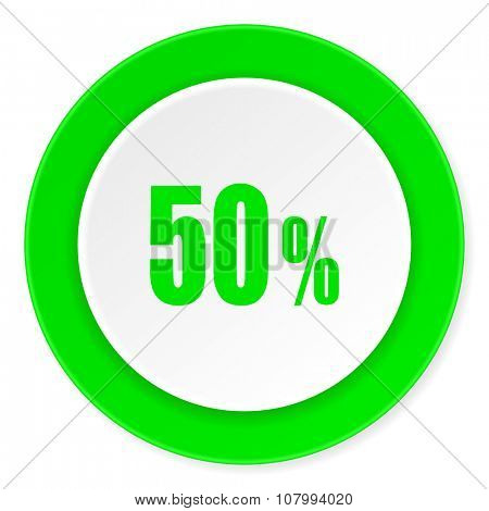 50 percent green fresh circle 3d modern flat design icon on white background