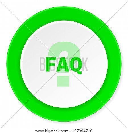 faq green fresh circle 3d modern flat design icon on white background