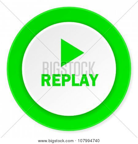 replay green fresh circle 3d modern flat design icon on white background