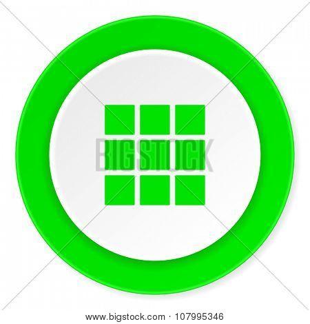 thumbnails grid green fresh circle 3d modern flat design icon on white background