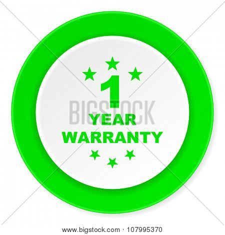 warranty guarantee 1 year green fresh circle 3d modern flat design icon on white background