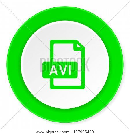 avi file green fresh circle 3d modern flat design icon on white background