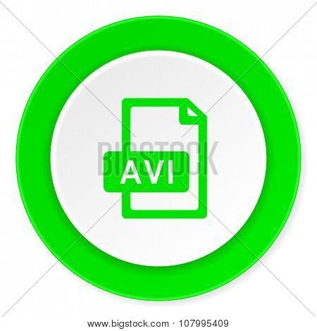 avi file green fresh circle 3d modern flat design icon on white background