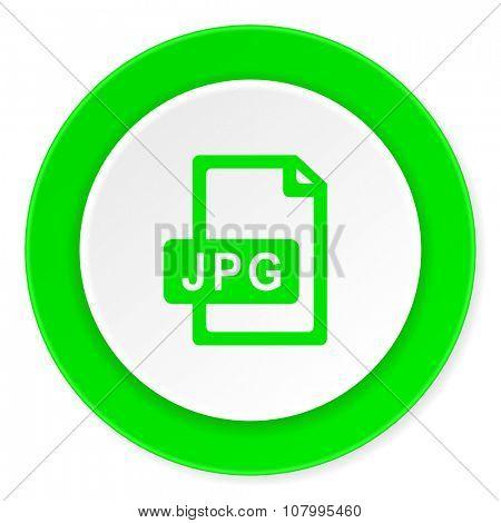 jpg file green fresh circle 3d modern flat design icon on white background