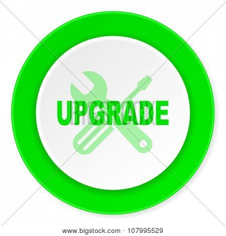 upgrade green fresh circle 3d modern flat design icon on white background
