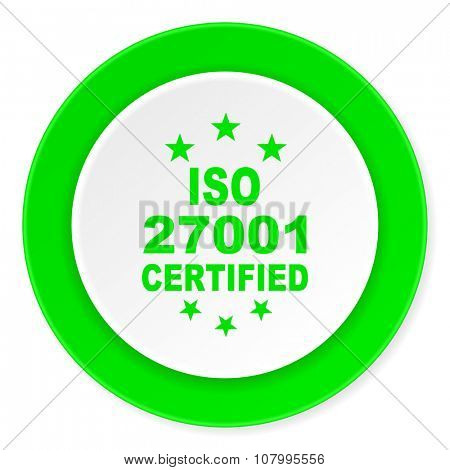 iso 27001 green fresh circle 3d modern flat design icon on white background