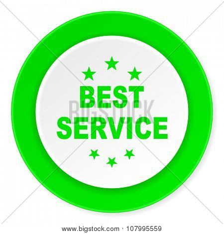 best service green fresh circle 3d modern flat design icon on white background