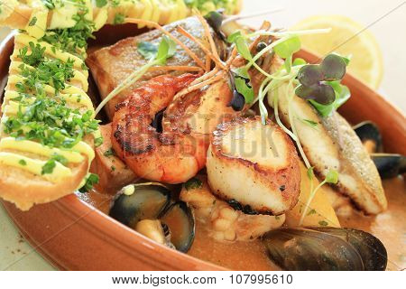 traditional bouillabaisse fish stew