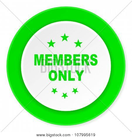 members only green fresh circle 3d modern flat design icon on white background