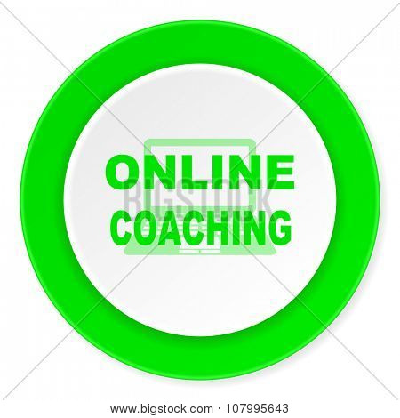 online coaching green fresh circle 3d modern flat design icon on white background