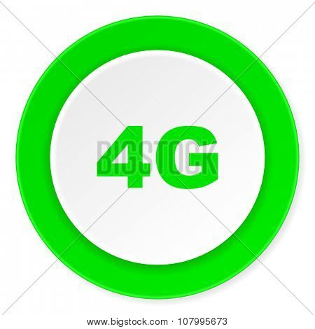 4g green fresh circle 3d modern flat design icon on white background