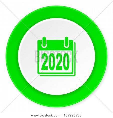 new year 2020 green fresh circle 3d modern flat design icon on white background