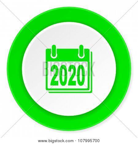 new year 2020 green fresh circle 3d modern flat design icon on white background