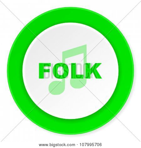 folk music green fresh circle 3d modern flat design icon on white background