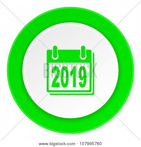 new year 2019 green fresh circle 3d modern flat design icon on white background