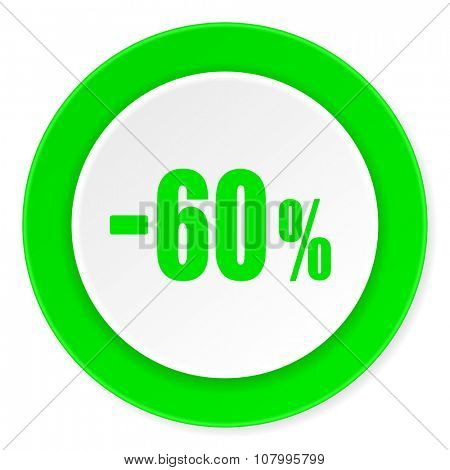 60 percent sale retail green fresh circle 3d modern flat design icon on white background