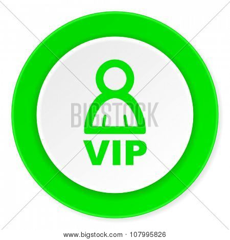 vip green fresh circle 3d modern flat design icon on white background