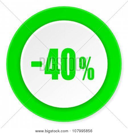 40 percent sale retail green fresh circle 3d modern flat design icon on white background