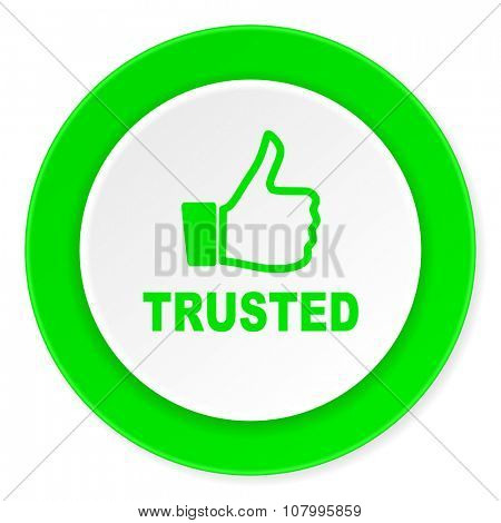 trusted green fresh circle 3d modern flat design icon on white background